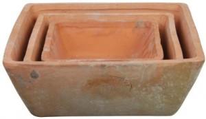 Aged Terracotta 3er Topfset ec