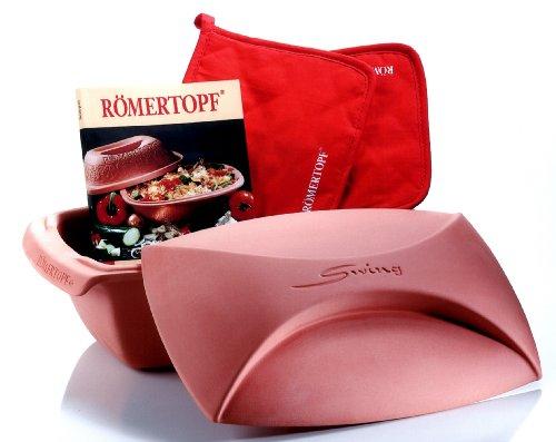 Römertopf 221205 Starter-Set Swing für 4 Personen inklusiv Topflappenpaar und Kochbuch mit 450 Rezepten
